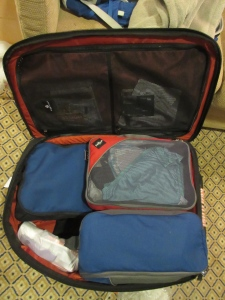 A tidy suitcase with packing cubes.