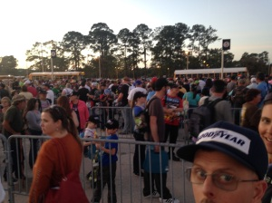 Waiting in one of the many snaking lines to board a bus back to our parked car after the Daytona 500.