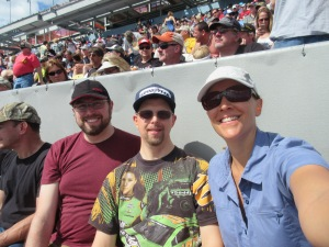 Before the race began at the Daytona 500. Adam is wearing one of his Nascar fan shirts.