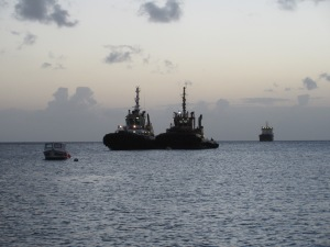 The waters around Statia are busy from a crude oil transfer station. These tugs fired up and went to work at night, near where we were moored.