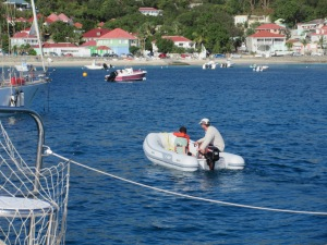 Jackson and Brian exploring from the dingy. Gustavia, St. Barth.