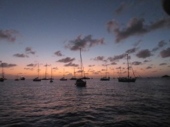 Sun setting over our night anchorage in Gustavia.