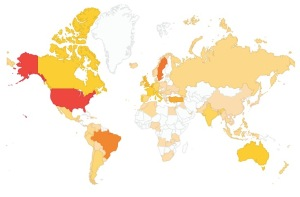Where our viewers are. The redder the country, the more views; the paler, fewer views.